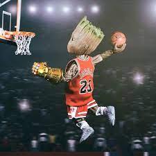 2932x2932 Baby Groot Playing Basketball ...
