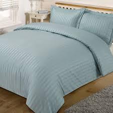 dreamscene beautiful satin stripe duvet bedding set duck egg blue king co uk kitchen home