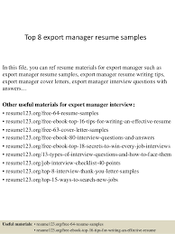Top 8 export manager resume samples In this file, you can ref resume  materials for ...