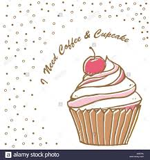 Delicious Muffin And Text I Need Coffee Cupcake Vector Stock