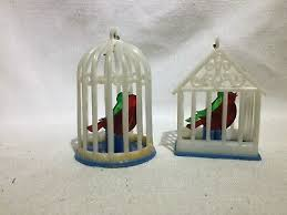 <b>Vintage Plastic Bird Cage</b> Christmas Ornaments Red and Green Birds