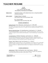 Resume Teacher Template Wonderful Objective For Teaching Resume Teaching Objectives For Resume Sample