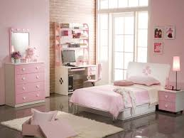 Bedroom. Pink Bedroom Wall Themes Combined By White Wooden Bed And White  Pink Wooden Desk