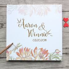 Custom White Wedding Guest Book Summer Flower Lotus And Dragonfly