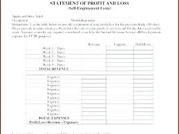 Monthly Profit And Loss Statement Profit And Loss Statement Template For Self Employed