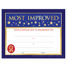 Most Improved Certificate