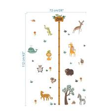 Us 3 11 20 Off Zoo Safari Wild Animals Growth Chart Height Measure Wall Sticker Decorative Kids Baby Nursery Home Decor Decal Poster Mural In Wall