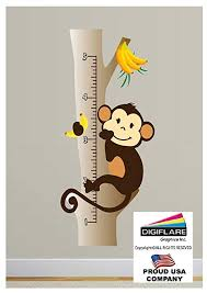 Monkey Growth Chart Wall Amazon Com Monkey Growth Chart Wall Decal Deco Art