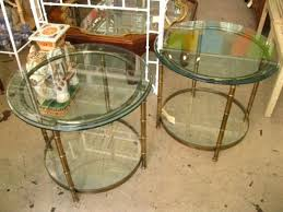 gold metal side tables pair of vintage gold metal round faux bamboo side tables home usa