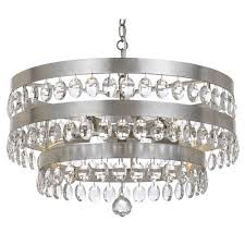 crystorama lighting group perla antique silver five light chandelier with clear elliptical faceted crystal