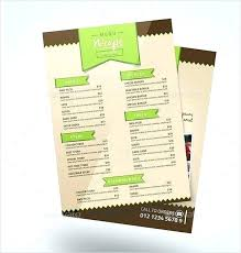 Weekly Food Menu Template Templates Design Word Free Cafe