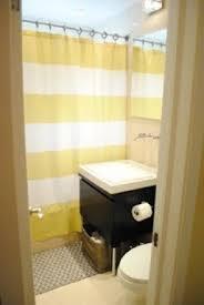 Yellow stripe shower curtain 5