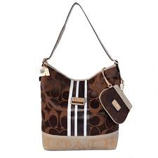 Coach In Signature Medium Coffee Shoulder Bags AYK