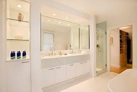 modern bathroom glass shelves design