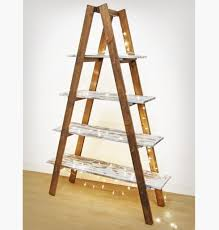 ladder display shelf, timber A frame folding foldable shelving unit,  distressed paint finish shabby