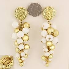 clip on earrings gold casting textured round clips with g style dangling beads white gold chandelier style lead compliant