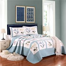 blue and white bedspread. Perfect White 3pcs Blue White Flower Bedding Cover Set 100cotton Fresh Quilt Bedspreadpillowcases  Gray To Blue And White Bedspread E