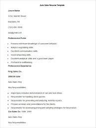 Sample Auto Sales Resume Template