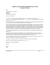 Sample Job Offer Confirmation Letter For Resesarch Fellow In Word