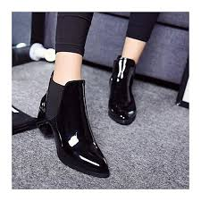 fashion elastic band pointed block patent leather ankle boots for women