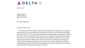 Thank You Letter Reference Thank You To Delta Airlines For The Remarkable Letter Of