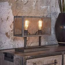 Tafellamp Landelijke Oud Zilveren Rechthoek Raster Kopen