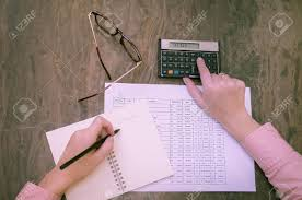Financial Calculator Great Concept Of Finance Woman Hand Working Calculating Tables