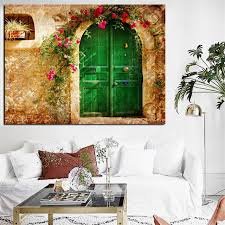 digital prints 3d european old house with green doors oil painting on canvas wall art picture