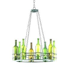 recycled wine bottle chandelier glass