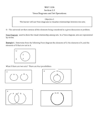 Venn Diagram Of Relationships Mgf 1106 Section 2 3 Venn Diagrams And Set Operations