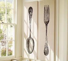 pottery barn knock off spoon fork wall art on giant fork and spoon wall art with pottery barn knock off spoon fork wall art diy french country