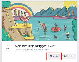 go to your facebook event page on share invite friends