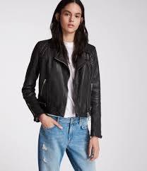 womens conroy leather biker jacket ink image 1