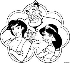 Coloriage Aladdin Jasmine Genie Abu Dessin