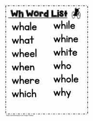 Of all the h brothers (ch, sh, th, wh) i find wh to be a little more troublesome for new learners. Wh Digraph Activities Worksheets