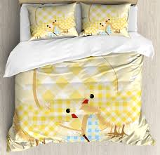 baby duvet cover set abstract design with plaid pattern erfly giant egg funny decorative bedding set with pillow shams yellow pale yellow pale