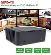 2017 best unique full tower horizontal desktop computer custom aluminum mini itx pc case without fan