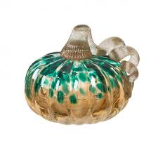 glitzhome hand blown glass pumpkin table accent for fall harvest decorating blue gold glitter