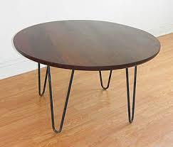 custom made mid century modern danish modern round coffee table with hairpin legs
