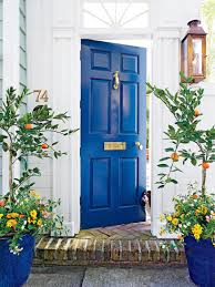 a happy and vibrant blue color front door
