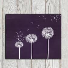 gift idea dandelion printable purple dandelion print wall art