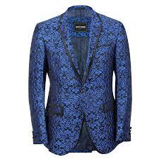 Mens Designer Suits Uk Details About Mens Blue Paisley Print Italian Designer Style Suit Jacket Slim Fitted Blazer