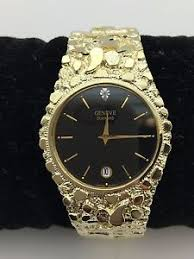 new men 039 s geneve diamond 10k solid yellow gold nugget style image is loading new men 039 s geneve diamond 10k solid
