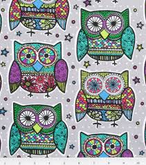 Novelty Owl Print Cotton Fabric 43