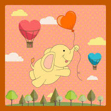 Baby Elephant Template Card Template Cute Baby Elephant Balloon Decor Free Vector In Adobe