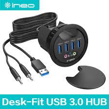 ineo grommet desk fit usb 3 0 hub 3 5mm audio output thc06 iv