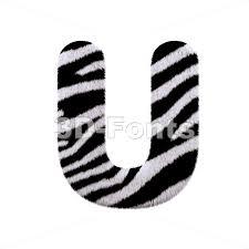 zebra fur 3d letter u capital 3d font 3d fonts