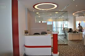 colorful office space interior design. Interior Home Office Come With Clear Glass Room Divider Design And White Red Colors Front Desk Colorful Space