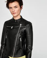 zara faux leather power shoulder ribbed sleeve zip biker jacket 3046 025 l 1 sur 12 zara faux leather