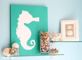 diy beach bathroom wall decor. DIY Beach-themed Bathroom Art In Emerald Green - I Love This Seahorse! Diy Beach Wall Decor H
